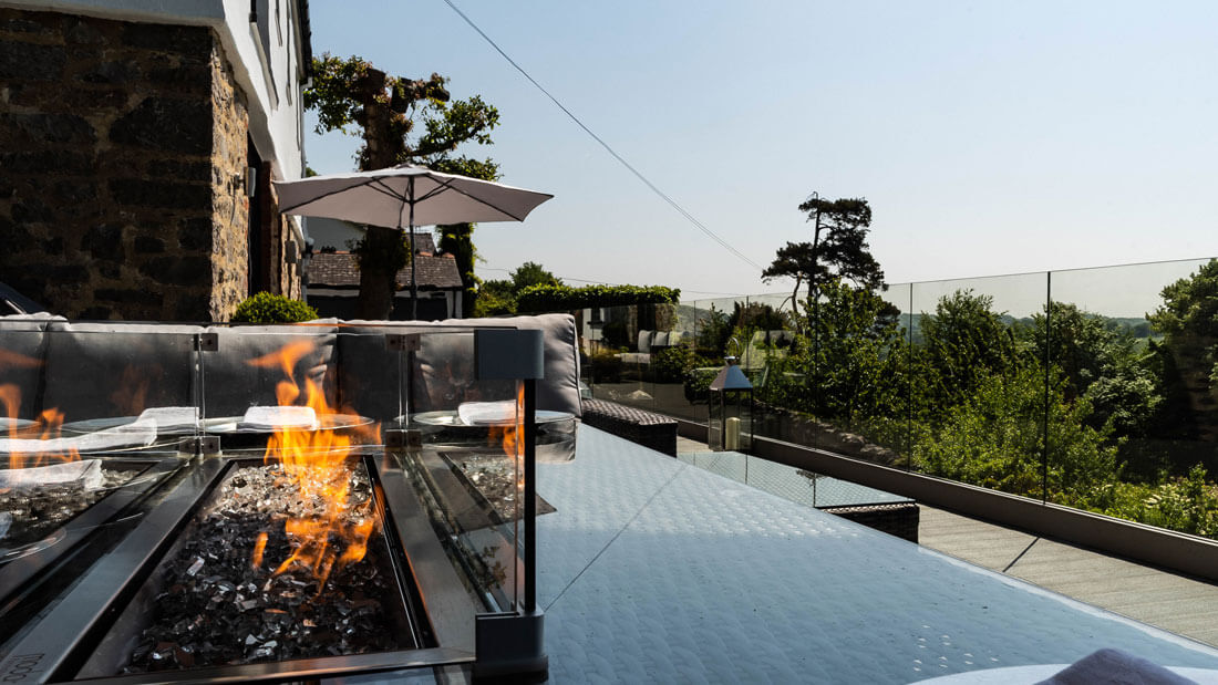 Garden deck with firepit
