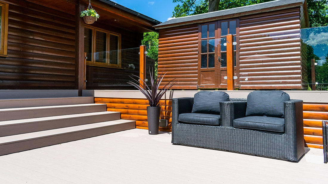 Outdoor deck with sofa